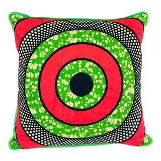 Pink/Green Bullseye & Green Backed African Wax Print Pillow