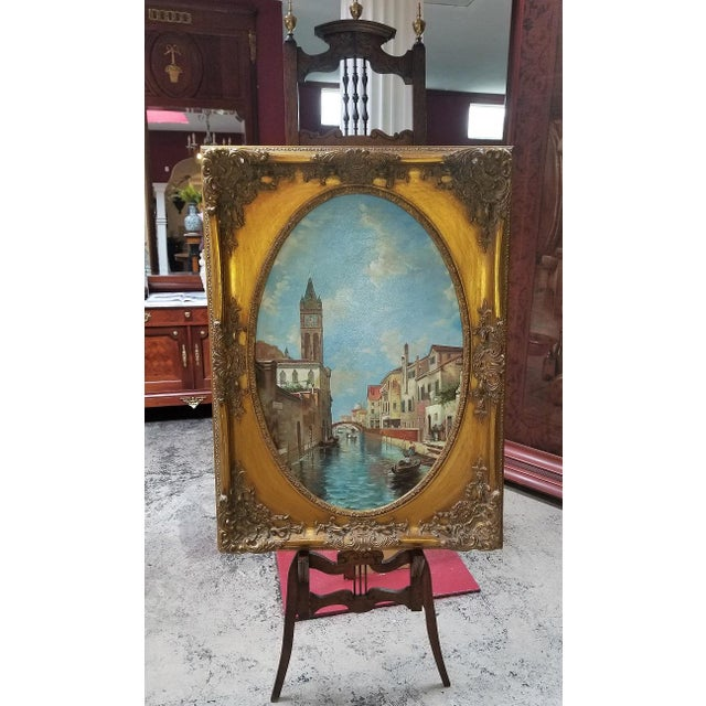 Canvas Oil on Canvas of Venetian Scene in Ornate Giltwood Frame For Sale - Image 7 of 12