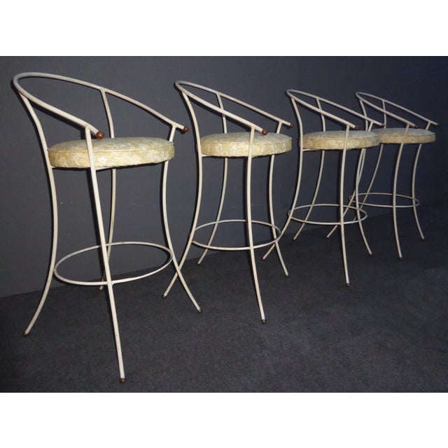 Vintage Mid-Century Modern White Wrought Iron Bar Stools- Set of 4 - Image 2 of 11