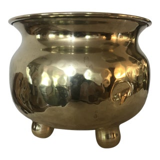 Antique S. W. Farber Hammered Brass Spittoon For Sale