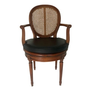 Antique French Cane Swivel Armchair For Sale