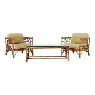 McGuire Rattan Cube Chairs and Table Living Room Suite - Set of 3 For Sale