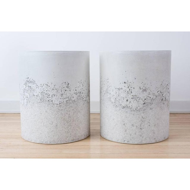 Hand Made White Opal and White Plaster Drum, Side table by Samuel Amoia For Sale - Image 4 of 6