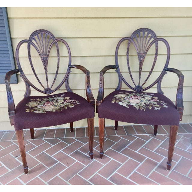 Hepplewhite Heart Back Chairs - a Pair For Sale - Image 11 of 11