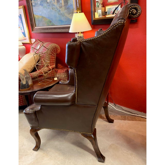 English Traditional Vintage 18th Century Style Scrolled Wing Chair For Sale - Image 3 of 13