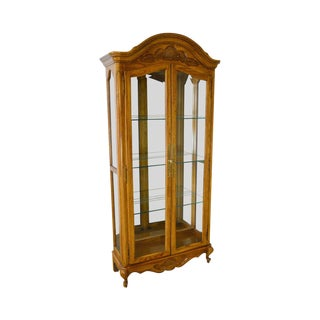French Louis XV Style Oak Curio Display Cabinet