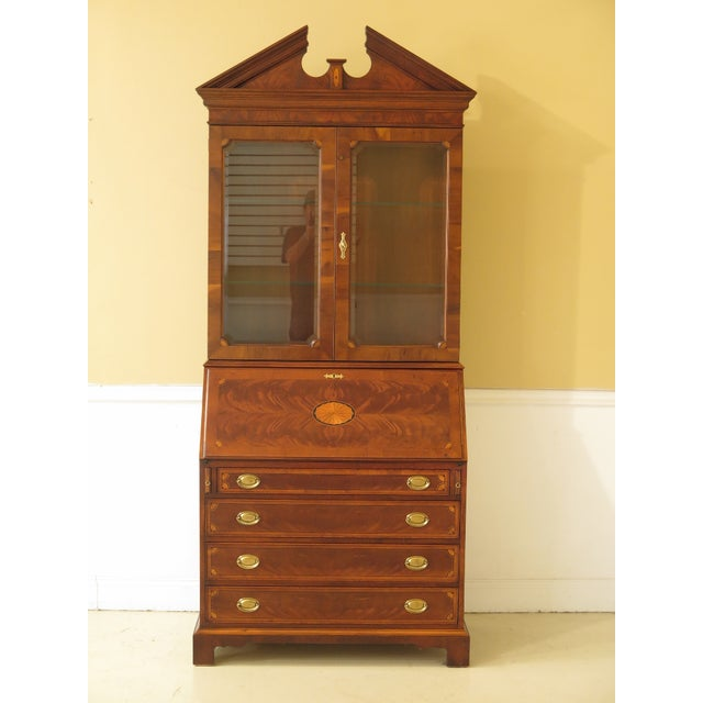1990s Vintage Hekman Inlaid Mahogany & Yew Wood Secretary Desk For Sale - Image 13 of 13