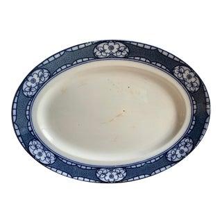 English Antique Serving Platter, Blue & White Flowers For Sale