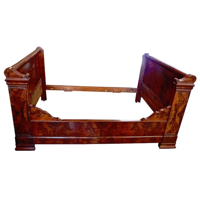 19th Century Country Louis Philippe Burled Walnut Bedframe For Sale