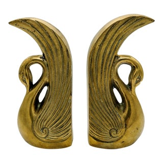 20th Century Art Deco Brass Swan Bookends - a Pair