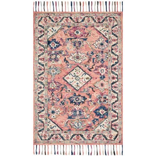 """Loloi Rugs Elka Rug, Pink / Multi - 2'6""""x7'6"""" For Sale"""