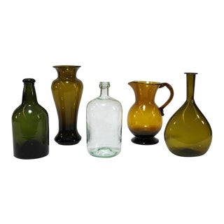 18th Century American Neutral Hand Blown Glass Pitchers - Set of 5 For Sale