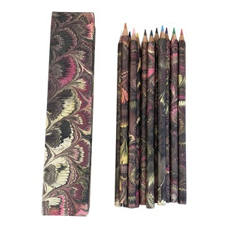Vintage Italian Marbled Paper Wrapped Pencils With Box For Sale