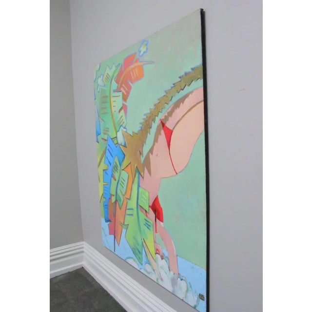 "Michael Vollbracht, "" Pastel Diver"" Findlay Galleries, label on verso. Oil on canvas p, unframed. Michael Vollbracht (..."
