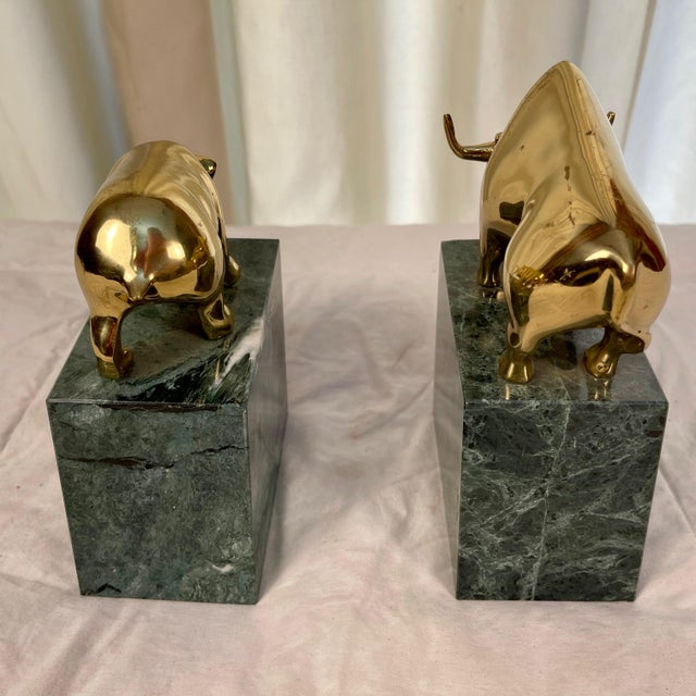 Vintage Brass Bull & Bear Stock Market Bookends - a Pair For Sale - Image 4 of 10