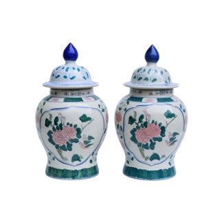 Chinoiserie Ceramic Ginger Jars, a Pair For Sale