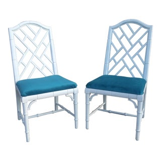 Century Chippendale White Faux Bamboo Chairs - a Pair