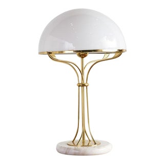 Italian Mushroom Table Lamp With Brass and Marble Base For Sale