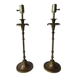 Vintage Brass Palm Tree Table Lamps - a Pair For Sale