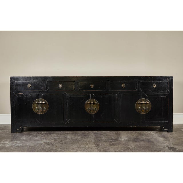 18th C. Chinese Black Lacquer Elm Sideboard For Sale - Image 10 of 10