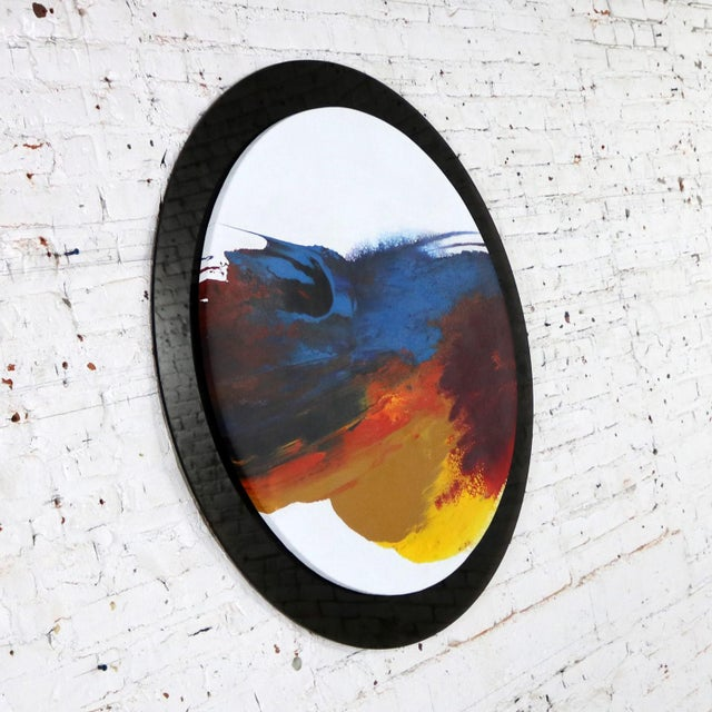 Late 20th Century Abstract Round Acrylic Canvas Painting Mounted on Smoke Plexiglass by Ted R. Lownik For Sale - Image 5 of 13