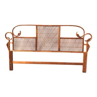 Vintage Rattan Bentwood Pagoda King Headboard For Sale