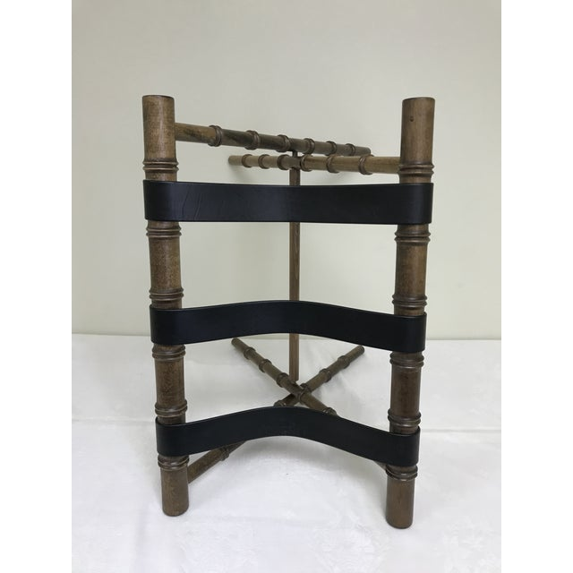1960s Regency Faux Bamboo Leather Strap Folding Luggage Rack Stand For Sale In Saint Louis - Image 6 of 10