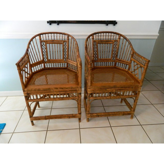 Asian Vintage Brighton Pavilion-Style Bamboo Chairs - A Pair For Sale - Image 3 of 11
