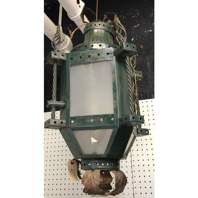 French Patinated Early 20th C. Iron Hanging Lantern - Image 4 of 4