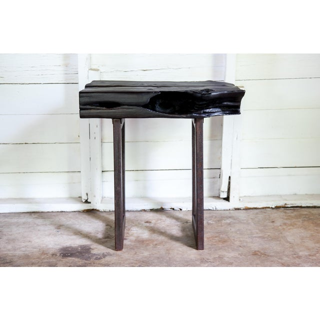 Asian Modern Yakisugi Wood and Metal Side End Table For Sale In San Antonio - Image 6 of 13