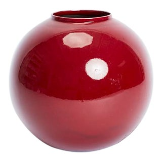 Signed Jaru 1980 Oxblood Spherical Ceramic Globe Vase