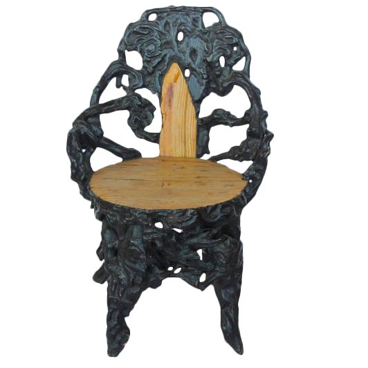 Early 20th C. Antique Black Forest Chair For Sale