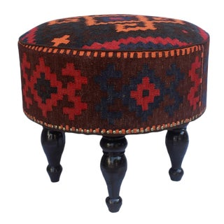 Arshs Dorian Chocolate/Gold Kilim Upholstered Handmade Ottoman For Sale