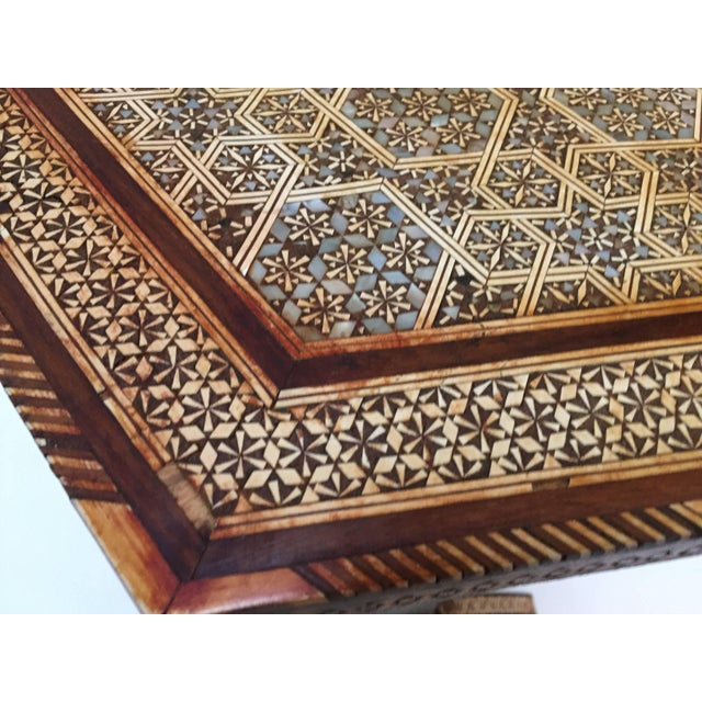 Mother-of-Pearl Egyptian Octagonal Side Tilt-Top Table For Sale - Image 7 of 10