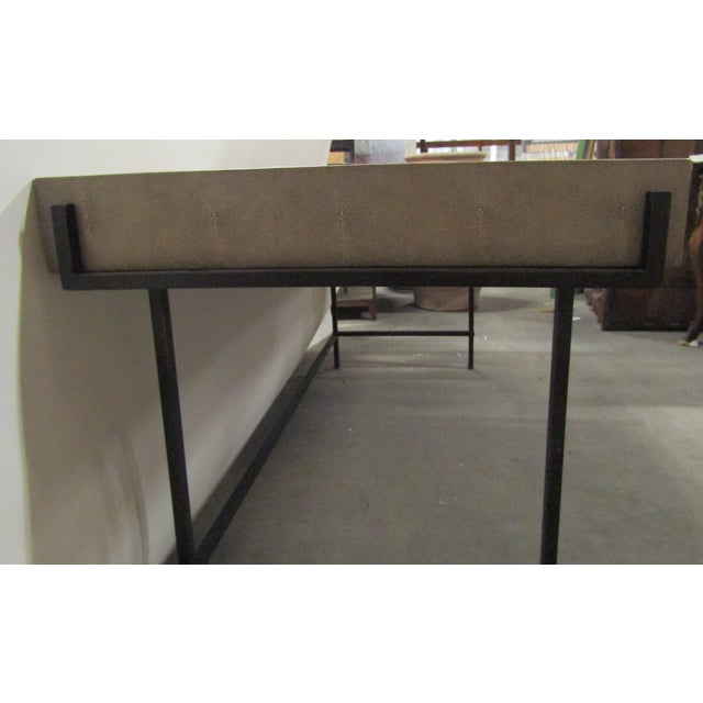 Contemporary Contemporary Lillian August Simone Shagreen and Metal Desk For Sale - Image 3 of 9