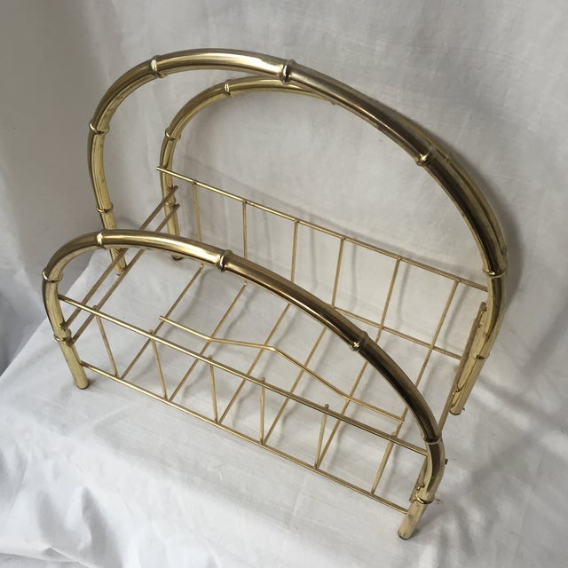 Hollywood Regency Hollywood Regency Brass Arch Magazine Rack For Sale - Image 3 of 4
