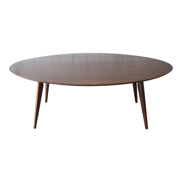 Knoll Walnut Eliptical Dining or Conference Table For Sale