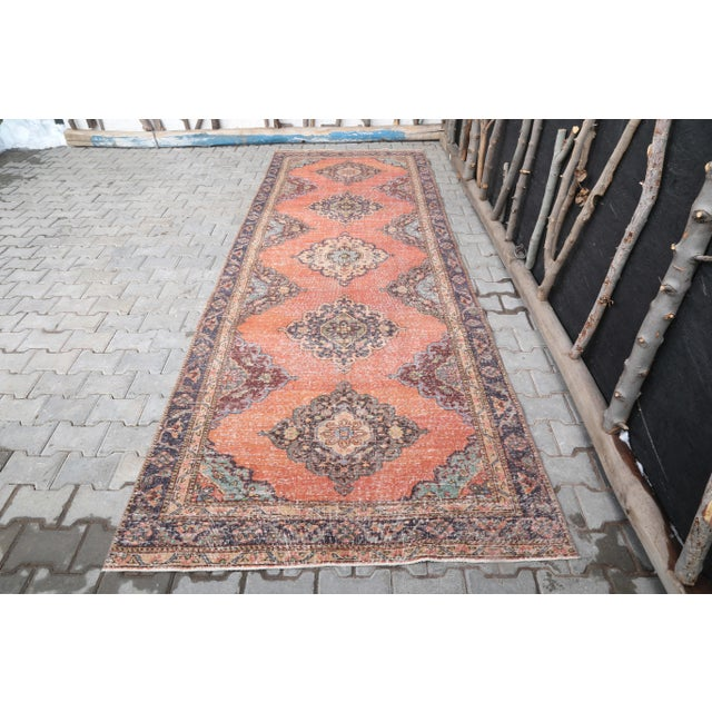 """1960's Vintage Turkish Hand-Knotted Wide Runner Rug - 4'4"""" X 12'5"""" For Sale - Image 11 of 11"""