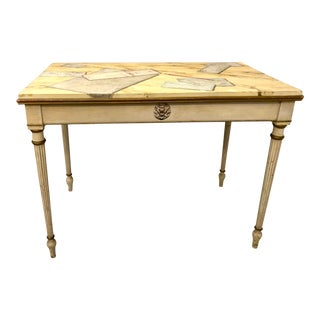 1930 French Hand Painted Wooden Desk Manner of Maison Jansen For Sale