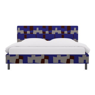 King Tailored Platform Bed in Blue Quilt For Sale