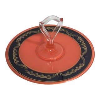 Art Deco Gilded Sandwich Platter, Orange and Black For Sale