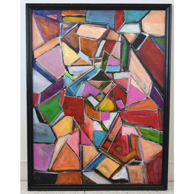 """Colorful abstract painting on canvas by Juan """"Pepe"""" Guzman-Maldonado (Chile b.1948). The artist is known for his strong..."""