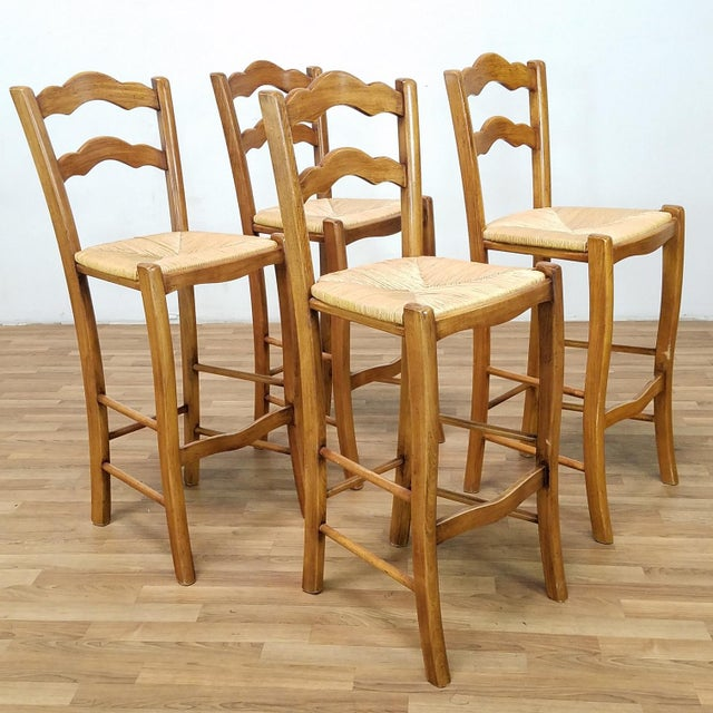 Rattan Italian Rattan and Wicker Barstools - Set of 4 For Sale - Image 7 of 13