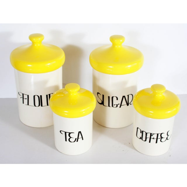 Boho Chic Vintage Mid Century Ceramic Kitchen Canisters - Set of 4 For Sale - Image 3 of 7
