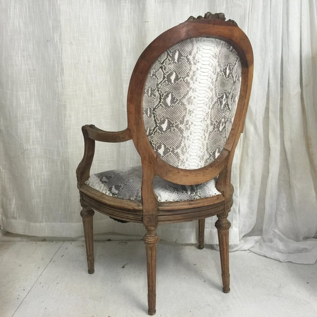 2010s Hollywood Regency Daf House Genuine Python Leather and Swarovski Crystal Arm Chair For Sale - Image 5 of 12