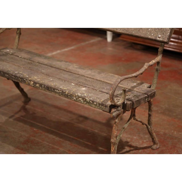 19th Century French Weathered Iron and Wood Outdoor Garden Bench For Sale In Dallas - Image 6 of 9