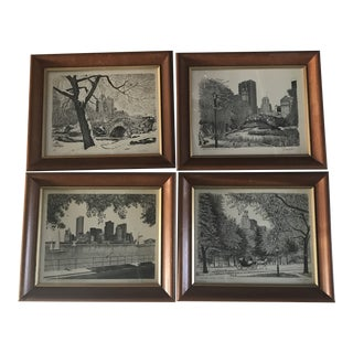 New York Scenes by Duchein Signed Prints - Set of 4 For Sale