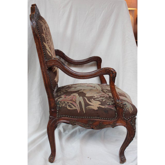 French Louis XV Walnut Arm Chair - Image 3 of 10