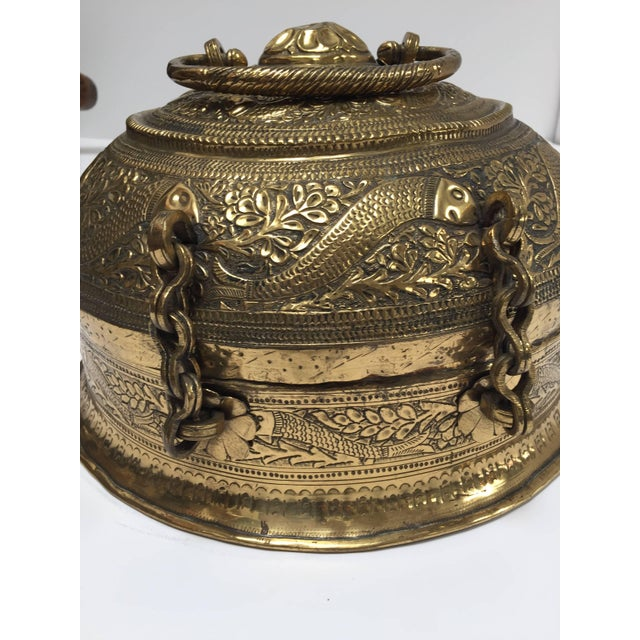 Metal Decorative Large Round Anglo-Indian Brass Box Tea Caddy For Sale - Image 7 of 10