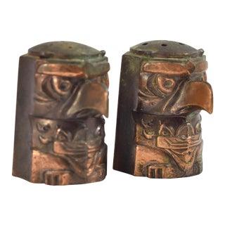 Vintage Hawaii Tiki Brass Salt and Pepper Shakers